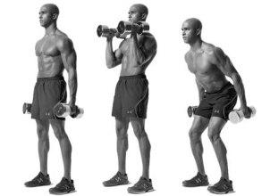 Упражнение молоток на бицепс с полусогнутыми ногами