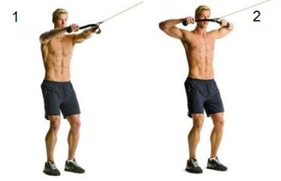 Тренировка трапеции с помощью веревки на тренажере